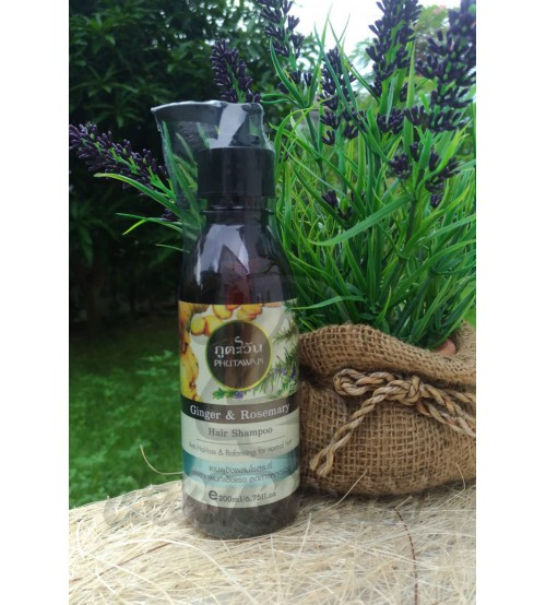Шампунь против выпадения волос «Имбирь и розмарин» от Phutawan, Ginger & Rosemary Hair Shampoo, 200 мл