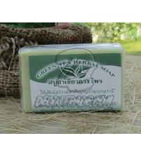 Растительное мыло с зеленым чаем от Dowphai, Green Tea Herbal Soap, 80 гр