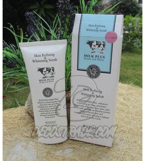 Осветляющий скраб-гель («скатка») от Scentio, Milk plus bright and white, Skin refining & Whitening scrub, 100 мл