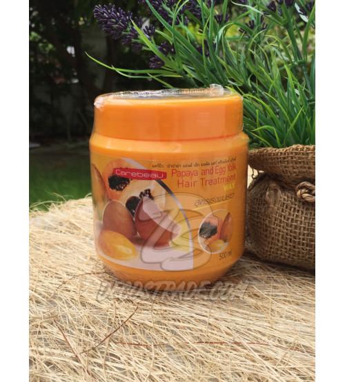 Восстанавливающая маска для волос с папайей и яичным желтком от Carebeau, Papaya and Egg Yolk Hair Treatment WAX, 500 мл