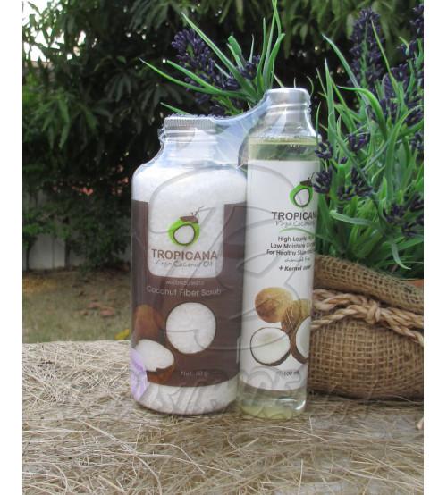 Сет: Скраб из кокосовых волокон с Лавандой и Натуральное 100% кокосовое масло холодного отжима от Tropicana, Coconut Fiber Scrub Lavander & Natural Coconut Oil 100%, 40 гр и 100 мл