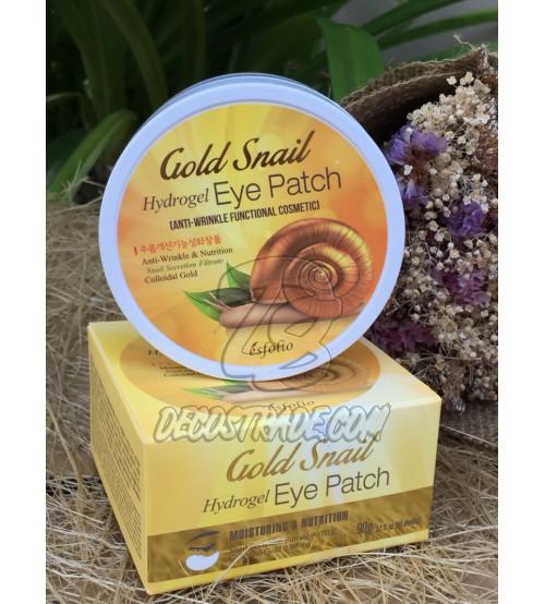 Гидрогелевые патчи для глаз с улиткой и золотом от Esfolio, Gold Snail Hydrogel Eye Patch, 60 патчей