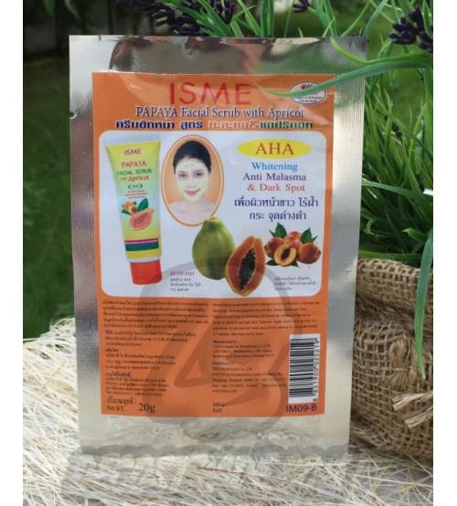 Скраб для лица с Папайей и Абрикосом от ISME, Facial Scrub Whitening Anti Malasma & Dark Spot, 20 гр