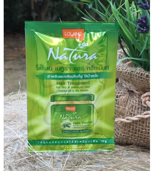 Лечебная маска для волос с маслом жожоба и протеинами шелка, Hair treatment for dry & damaged hair + jojoba oil & silk protein, Lolane, 10 гр