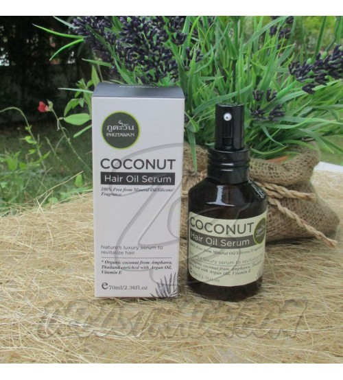 Восстанавливающая кокосовая сыворотка для волос от Phutawan, Coconut Hair Oil Serum, 70 мл