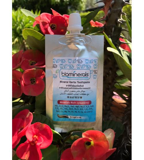Минеральная зубная паста для восстановления эмали от Biominerals, Mineral Herbs Toothpaste, 25 гр