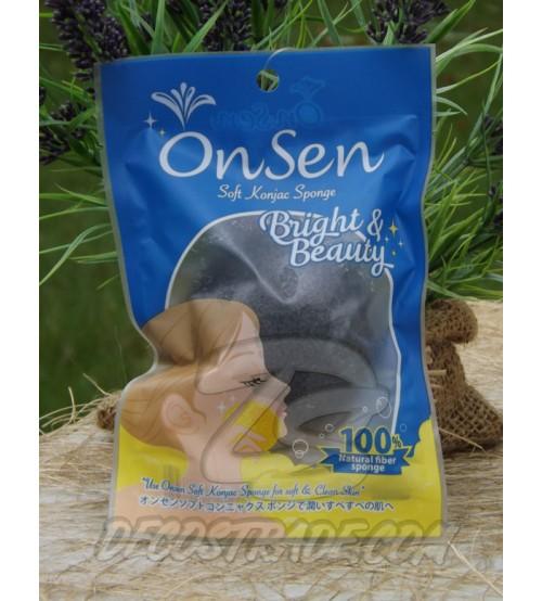 Натуральный спонж для умывания с добавлением бабукового угля «Конняку» OnSen (черная), Soft Konjac Sponge, 70 гр
