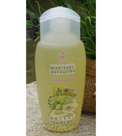 Гель для умывания жирной и комбинированной кожи 3 в 1 «Экстракт Карамболы, Мед и Витамин Е» от Friends love nature, Herbal facial gel Star fruit, 100 мл