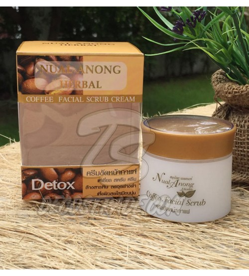 Кофейный крем-скраб для лица от Nual Anong, Herbal Coffee Facial Scrub Cream, 30 гр
