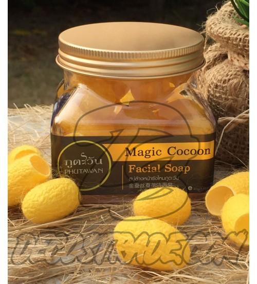 Мыльные шелковые коконы для лица с Пчелиным маточным молочком от Phutawan, Magic Cocon Facial Soapб, 40 гр