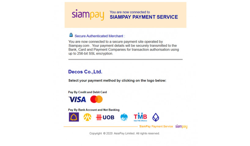 Оплата с использованием SiamPay