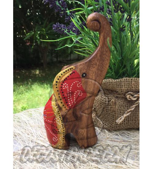 Деревянный слоник «Красный», Elephant Wood Red, 136 гр