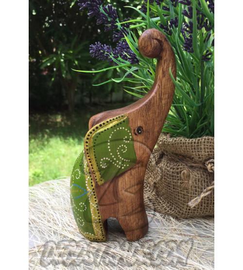 Деревянный слоник «Зеленый», Elephant Wood Green, 136 гр