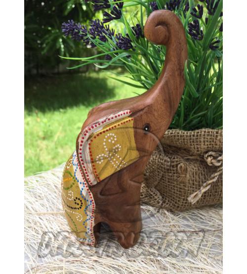 Деревянный слоник «Белое золото», Elephant Wood Gold White, 136 гр
