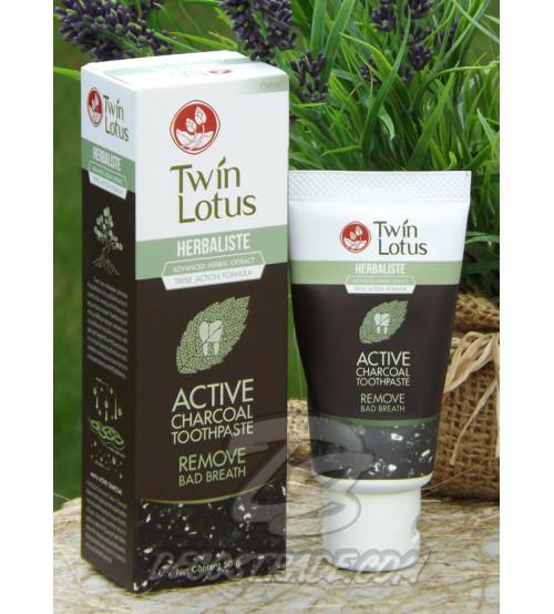 Отбеливающая зубная паста с бамбуковым углем от Twin Lotus, Toothpaste Active Charcoal, 50 гр