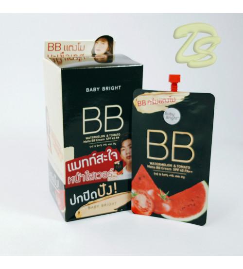 Матирующий BB крем  «Арбуз и Томат» с защитой от солнца SPF 45 PA++ от Baby Bright, Watermelon & Tomato Matte BB Cream SPF 45 PA++, 7 гр (набор 6 шт)