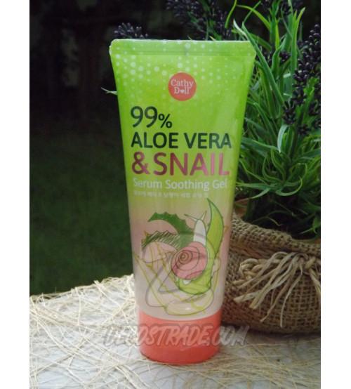 Успокаивающий гель с Алоэ Вера и Слизью Улитки от Cathy Doll, Serum Soothing Gel aloe vera & snail, 175 гр