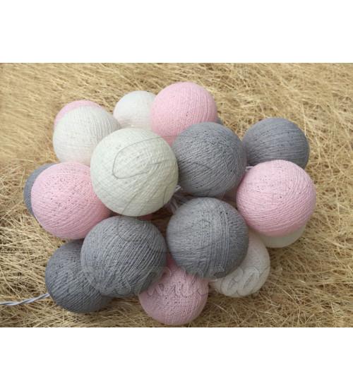 Гирлянда из хлопковых шаров «Серо-Розовая», 20 ламп