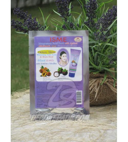 Скраб для лица против акне и черных точек с Мангостином и Абрикосом от ISME, Facial Scrub Detox Skin Whitening Anti-Acne & Blak Head, 20 гр