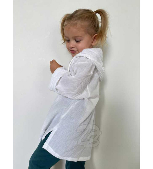 Хлопковая тайская рубашка с капюшоном для детей Cotton White Kids Shirt With Hood Style
