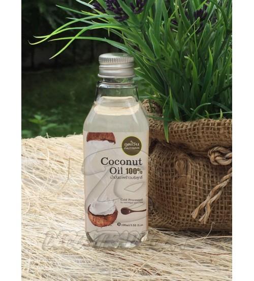 Натуральное 100% кокосовое масло холодного отжима от Phutawan 100 мл, Natural Coconut Oil 100% Gold Processed,