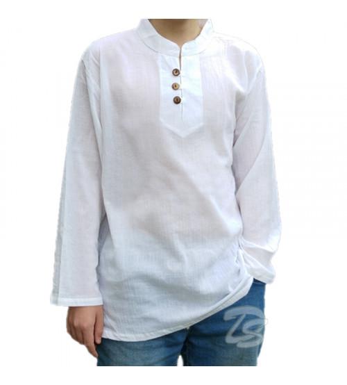 Хлопковая тайская рубашка на пуговицах Cotton White Shirt Neck Button Style