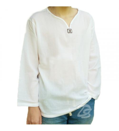Хлопковая тайская рубашка  V-Neck Cotton  White V Neck Shirt Style