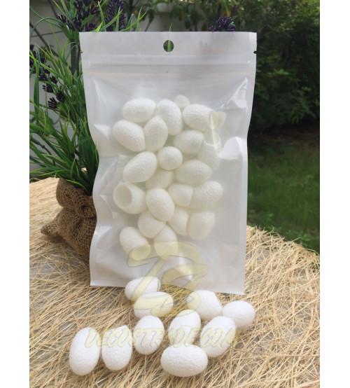 Белые шелковые коконы, Cocoon white, 20 шт